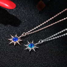 S925 pure natural opal stone Sun Flower Necklace female temperament fashion simple meter star clavicle chain dry flower diy raw stone necklace
