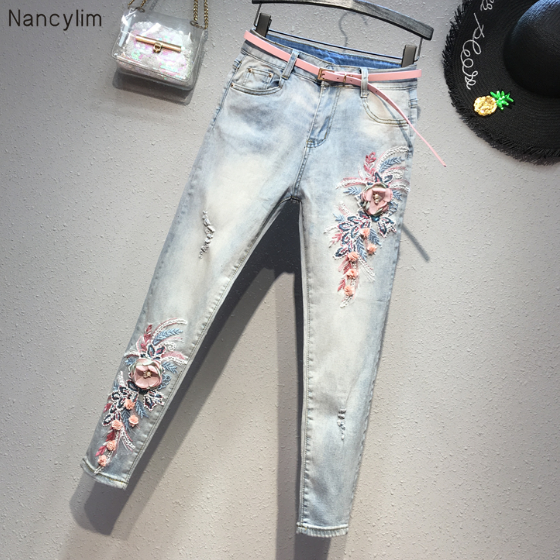 Jeans Woman 2020 New Spring Slim Cropped Pants Sequined Embroidered Pencil Pants Village Hole Jeans Boyfriend Jeans For Women