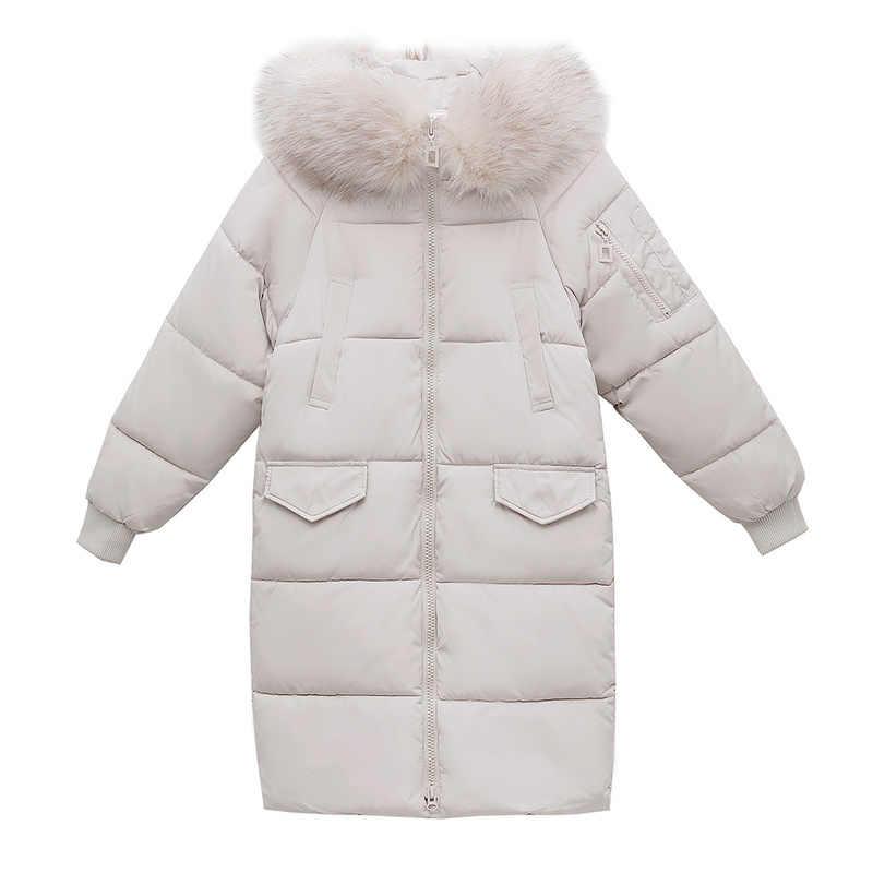 Kış ceket kadın kore kapüşonlu büyük kürk yaka ceket kadın ceket kadın sıcak Parka uzun Chaqueta Mujer 9002 YY1494