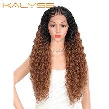 Kalyss – perruque synthétique tressée à la main, 28 pouces, avec Baby Hair, bouclée et ondulée, pour Cosplay, pour femmes noires