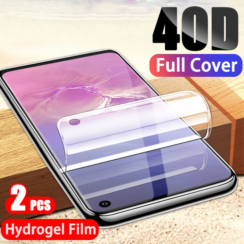 2-1Pcs 40D Hydrogel Screen Protector For Samsung Galaxy S10 S10E S9 S8 Plus Full Cover Protection For Note 9 8 S7 S6 Edge Film