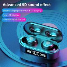 TWS Bluetooth Wireless Headphones Sports Waterproof Earbuds Bluetooth 5.0 Earphone With Microphone Touch Control 9D HiFi Headset