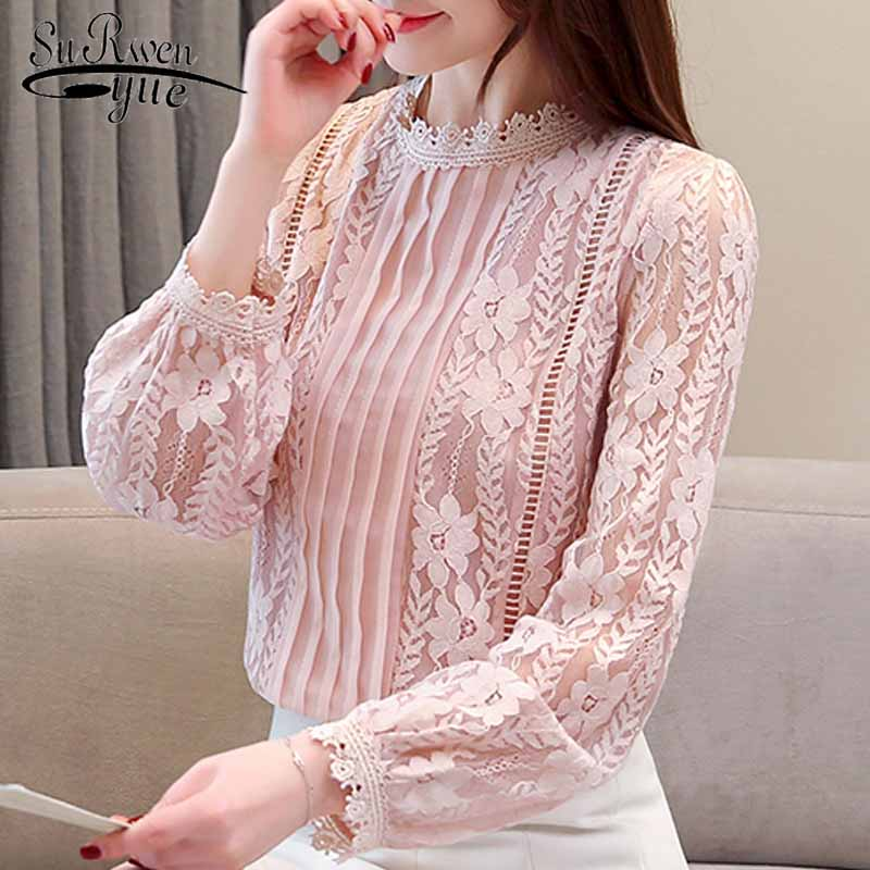 blouses woman 2019 fashion hollow lace blouse women long sleeve women shirts solid white pink women blouse top female 1991 50