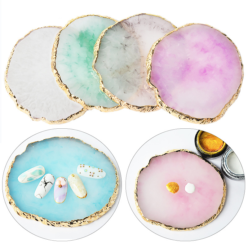 1pcs Resin Storage Painted Palette Tray Jewelry Display Plate Necklace Ring Earrings Display Tray Creative Decoration Organizer