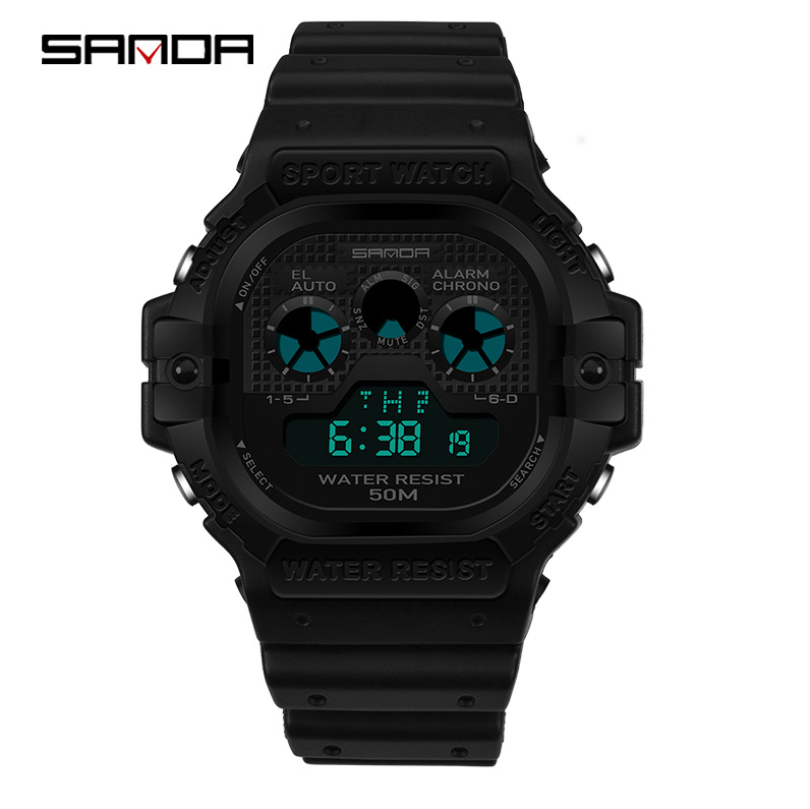 sanda Luxury Brand Mens Sports Watches Dive 50m Digital LED Military Watch  Men Fashion Casual Electronics Wristwatches Relojes|Digital Watches|