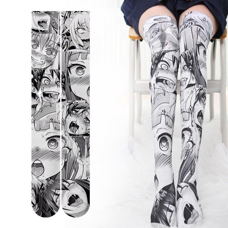 Модные женские сексуальные тонкие чулки с 3D принтом Аниме Забавный дьявол милые девушки Косплей Черные гольфы для подарка