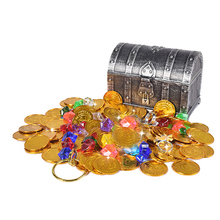 Plastic Coin Gold Treasure Coins Captain Pirate Party Pirate Treasure Case Child Treasure Box Coin Toy Play Money Gift For Kids