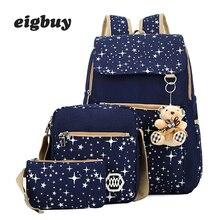 цена на 4 Psc/set High Quality School Backpacks Star Printing Canvas School Bags For Women Backpack Teenager Girls Shoulder Bag Mochila