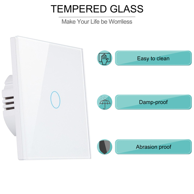 Wifi Wall Touch Switch EU No Neutral Wire Required Smart Light Switch 1 2 3 Gang 220V Tuya Smart Home Support Alexa Google Home 4