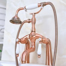 цена на Deck Mount Claw-foot Bathtub Faucet Tub Filler Handheld Shower Antique Red Copper Brass Dual Ceramic Handles ana166