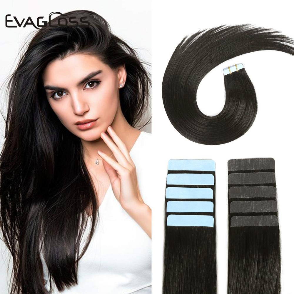 EVAGLOSS Skin Weft Real Remy Tape In Human Hair Extensions 10pcs 20pcs 40pcs Adhesive Tape In Hair Extensions 12