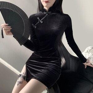 Image 2 - Goth Scuro Solido Vintage Gothic Abiti Harajuku Autunno 2020 Patchwork Grunge Impiombato Delle Donne del Tasto Del Vestito A Maniche Lunghe Sexy