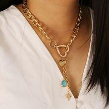 Эффектное модное металлическое ожерелье с подвеской в форме