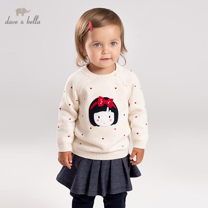 DB12326 dave bella/Зимний милый вязаный свитер с бантом для маленьких девочек детский Модный пуловер шикарные топы для малышей|Свитера| | АлиЭкспресс