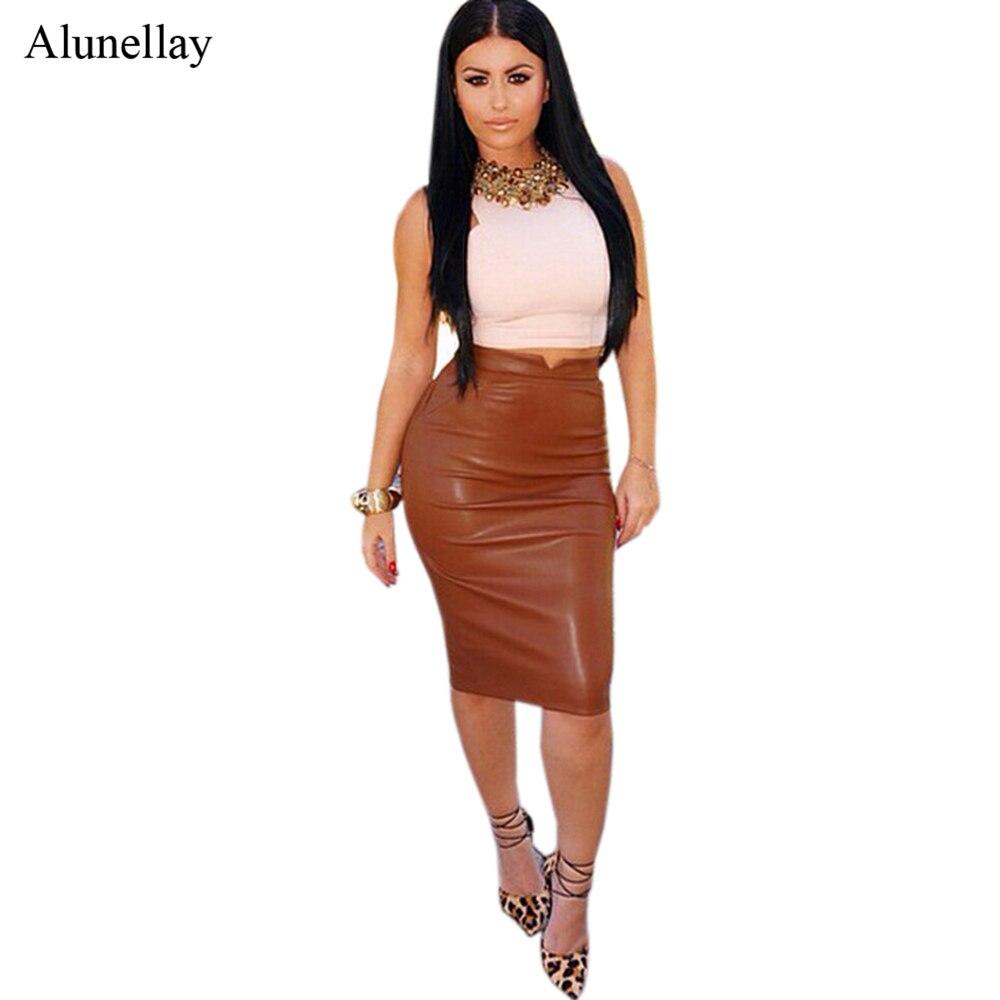2020 Women Autumn High Waist Leather Pencil Skirt Pu Velvet Winter Streetwear Work Wear Office Ladies Bodycon Midi Maxi Skirts