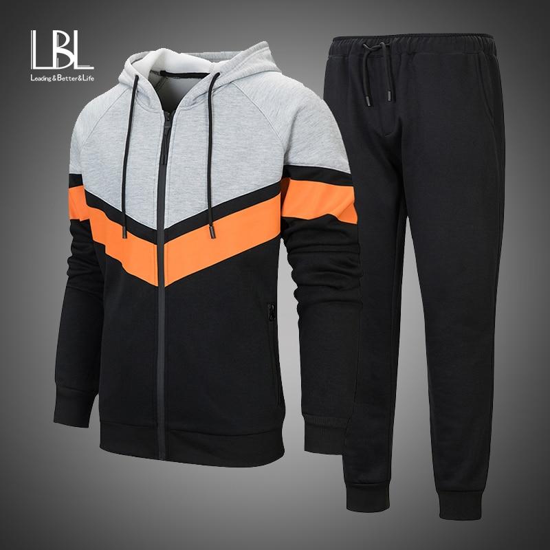 New Fashion Men Set 2019 Long Sleeve Zipper Hoodies+Pants Set Male Tracksuit Outdoors Suit Men's Gyms Set Casual Sportswear Suit