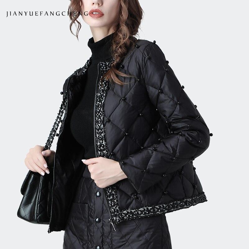 Fashion Duck Down Jacket Women Warm Thickened Short Winter Down Coat Beading Lightly Plus Size Streetwear Female Down Jackets