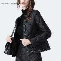 Fashion Duck Down Jacket Women Warm Thickened Short Winter Down Coat Beading Lightly Plus Size Streetwear Female Down jackets