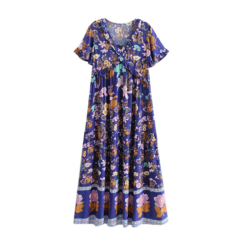 Élégant col en V Boho Chic été Vintage imprimé Floral volants longue robe 2019 mode femmes à manches courtes robes Vestidos Mujer