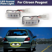 цена на 3-LED License Plate Number Lamp Signal Lights For Citroen C3 C4 C5 II C5 BERLINGO for Peugeot 206 207 306 307 308 406 407 5008