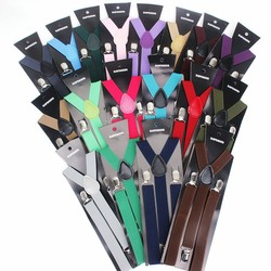 Hot Sale Elastic Leather Suspenders Men 3 Clips Vintage Men's Women Suspender Trousers Wedding Suspension For Skirts 38 Colors