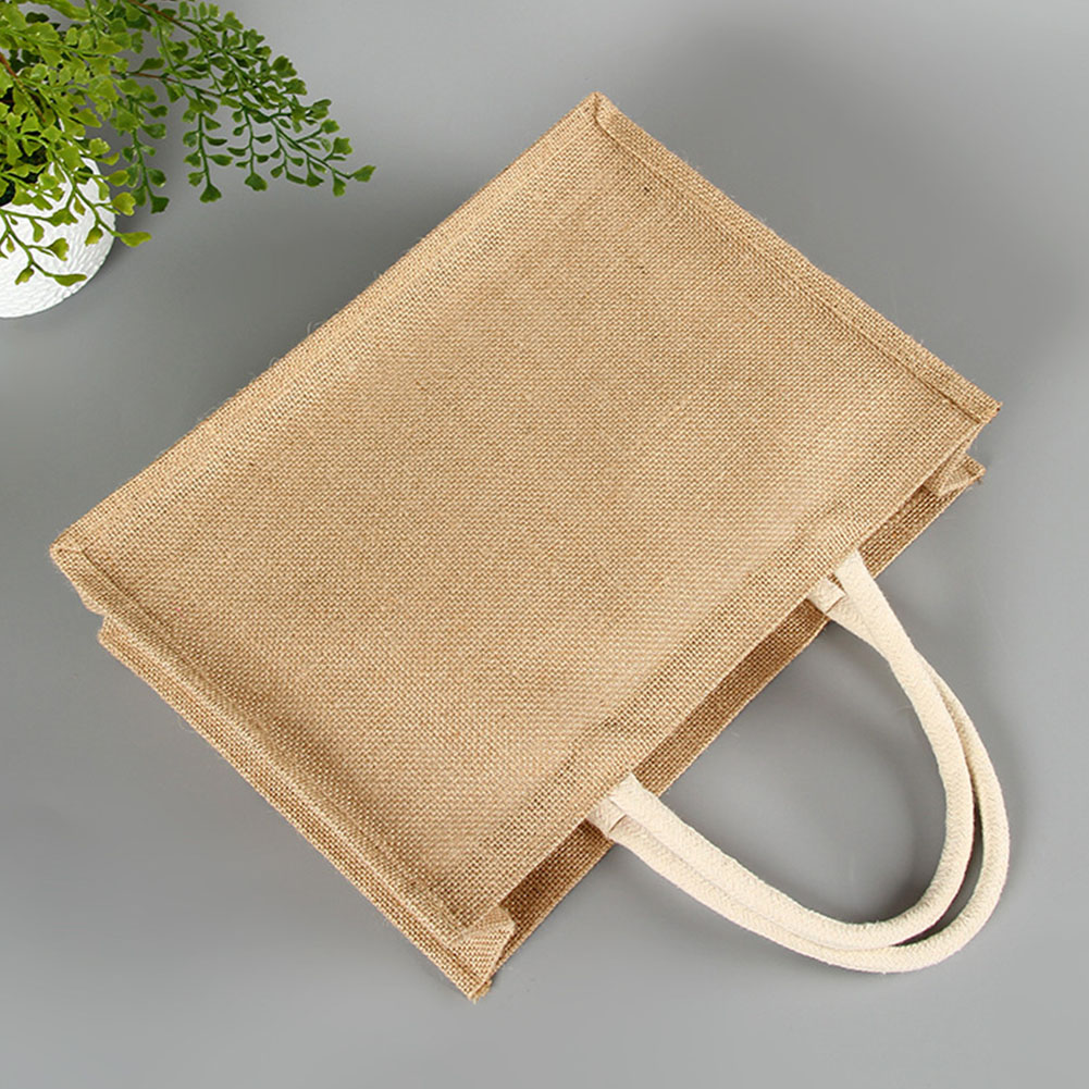Gift Casual Eco-friendly With Handle Home Women Handbag Square Storage Pouch Shopping Multi Use Accessories Solid Jute Tote