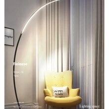 Нордическая Напольная Лампа в форме дуги, современный светодиодный светильник с регулируемой яркостью и дистанционным управлением, стоячи...