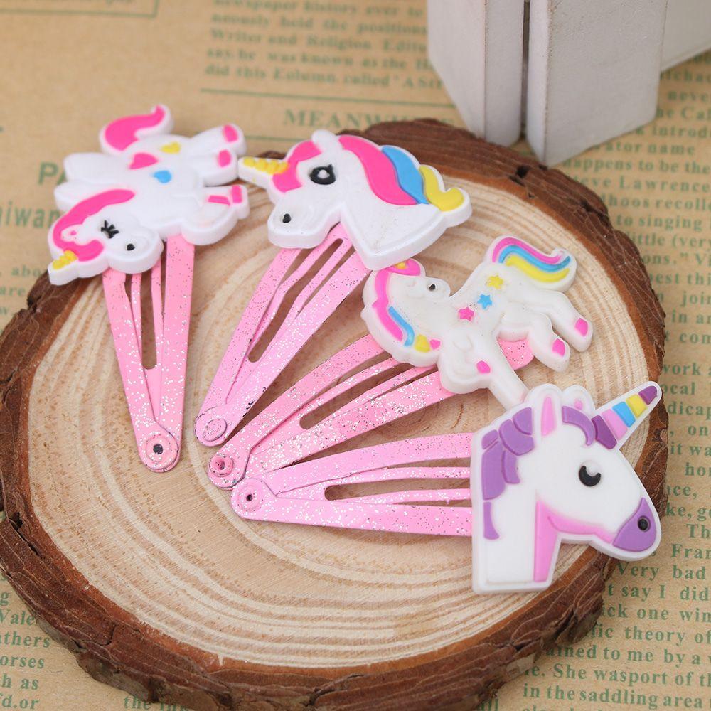 Wholesale 1 Pair Cartoon Unicorn Hair Clips Hairpins Barrette For Women Girls Snap Clip Hair Jewelry Kids Headwear Accessories