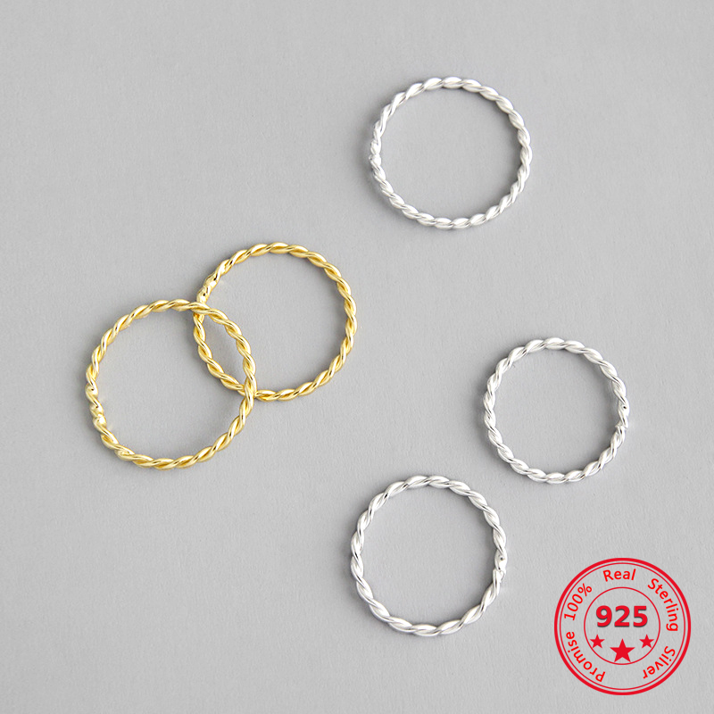 Korean Pure S925 Sterling Silver Fine Rings Simple Hemp Pattern Gold Plated Circle Personality Fashion Retro Rings Women Jewelry