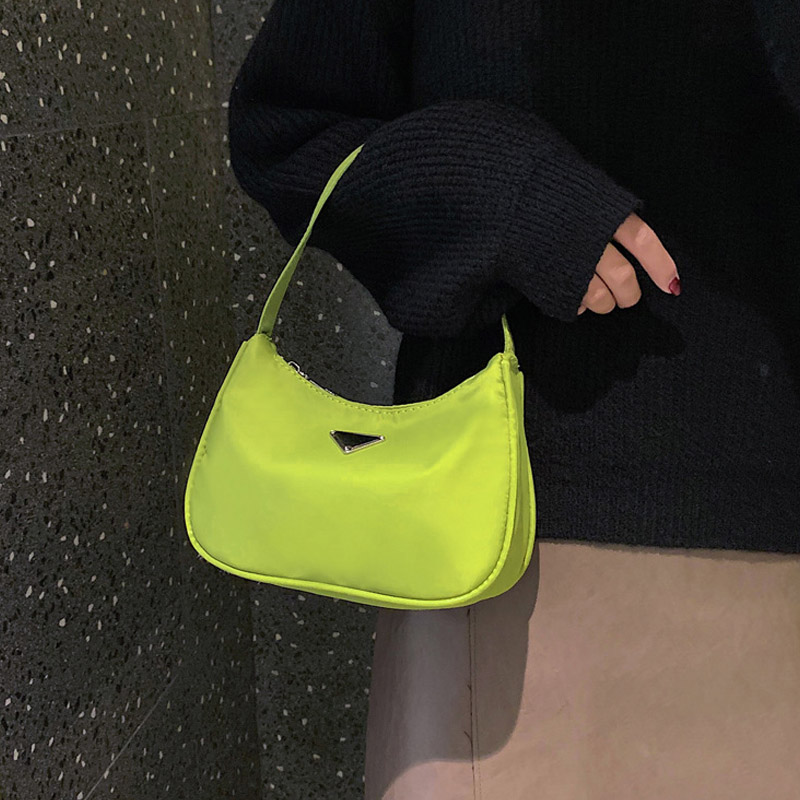 New Fashion Candy Color  New Moon Package Bags For Women 2019 Simple Retro High Quality Nylon Handbag Baguette Bag Shoulder Bag