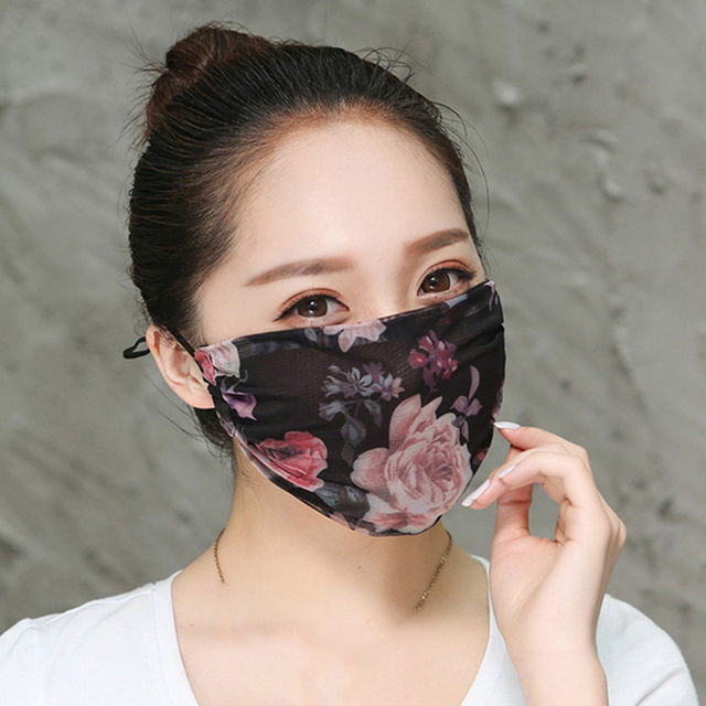 Summer Spring Lace Breathable Face Mask Sun Protective Shade anti-dust Mouth Mask Chiffon Mouth-muffle Mask Flu Face Masks 1