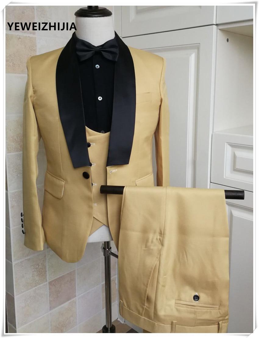 2020 Men's Dress Suit Wedding Party Dress Bridegroom Best Man Tuxedo Performance Suit(Jacket+pants+vest)