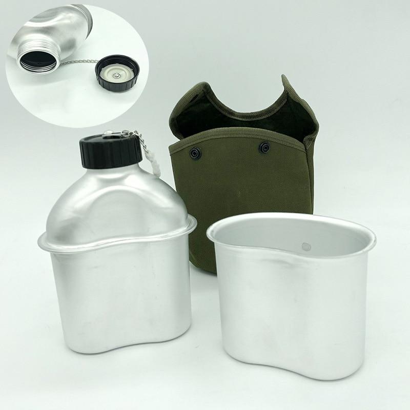 0.9 l ao ar livre militar tático garrafa de água do exército água cantina chaleira com bolsa copo conjunto acampamento caminhadas mochila sobrevivência