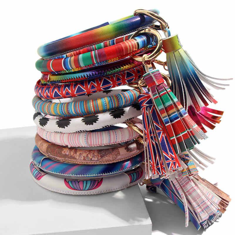 Moda nova moda multiful borla chaveiro esmalte couro do plutônio chaveiro monograma círculo pulseira chaveiro para meninas