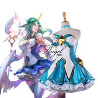 Popular Game LOL Guardian of the Star Soraka Cosplay Costume Custom Made Shoes Halloween Party Suit
