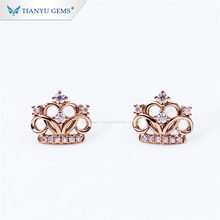 Tianyu gems 10k rose gold small crown earrings for girls(China)