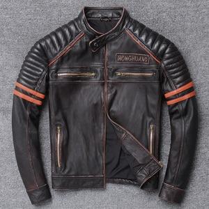 Image 3 - YR!Free shipping.Wholesales.Street Hot motor biker genuine leather jacket.skull printing cowhide coat.vintage slim jackets