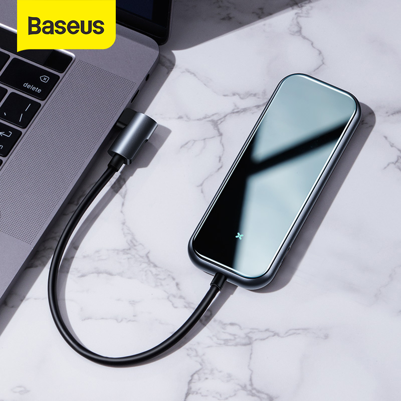 Baseus USB C HUB To HDMI USB 3.0 RJ45 Type C HUB For MacBook Pro Air 2020 Card Reader Glass USB Splitter For Notebook USB HUB