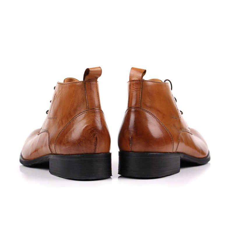 Italienische Marke Männer Winter Büroarbeit Kleid Schuhe Lace Up Business Party Formale Stiefeletten Männlichen Echtem Leder Hochzeit Schuhe