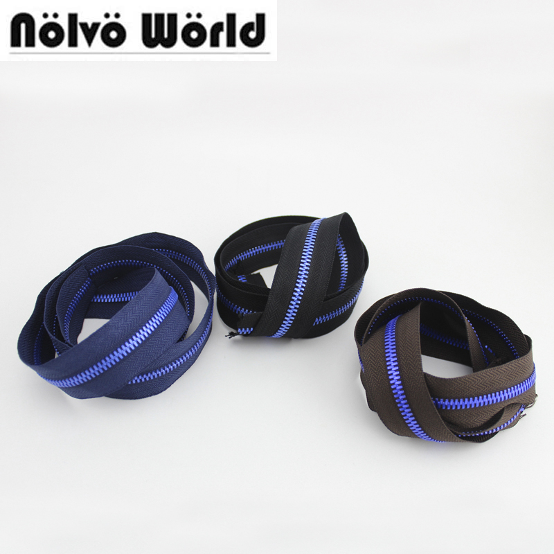 10 Yards Blue Lacquer,5# Alumium Teeth Light Weight Metal Zip Tape Blue/Coffee/Black, 5# Metallic Zip Slider,Bright Blue Color