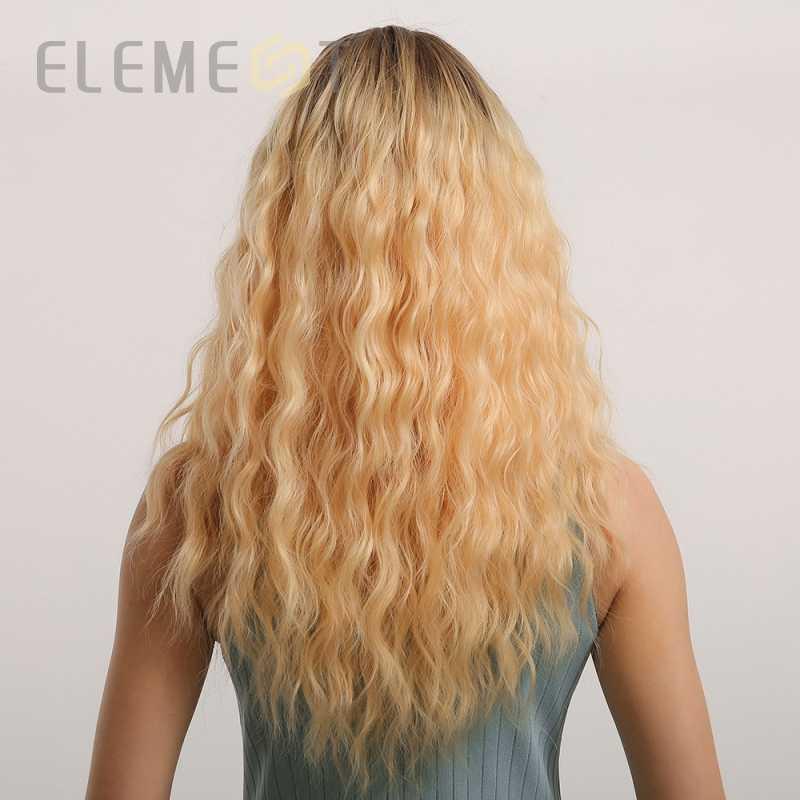 Element włókno termoodporne długie włosy falowane syntetyczne Ombre blond złote peruki z grzywką powietrza dla białych/czarnych kobiet