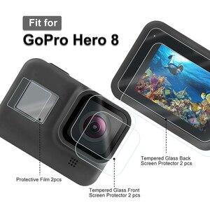 Image 5 - 9 ใน 1 ชุดซิลิโคนกรณีเลนส์ป้องกันกระจกนิรภัยป้องกันฟิล์มสำหรับ GoPro HERO 8 Action กล้องอุปกรณ์เสริม