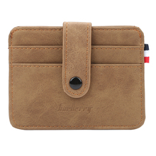 Men's small card bag Buckle Leather men wallets card holder cover bank card package coin bag fashion retro
