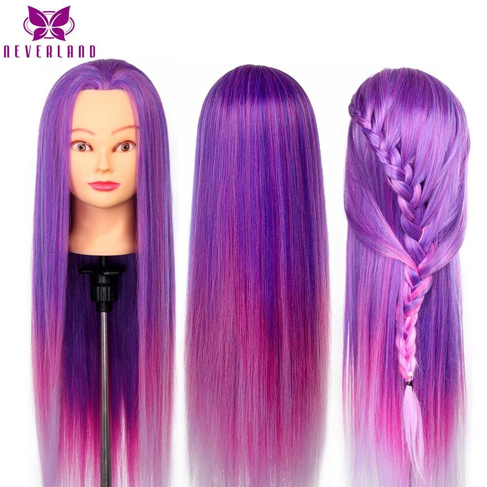 Cabeza de Maniquí de pelo largo de color arcoíris de 26 pulgadas púrpura para peinados cabeza de muñeca de peluquería profesional para trenza de práctica