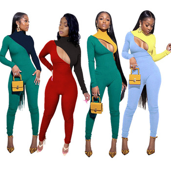 цена на 2020 Spring Sexy Knit Ribbed Jumpsuit Color Patchwork Turtleneck Long Sleeve Slinky Bodycon Playsuit Rompers Womens Jumpsuit