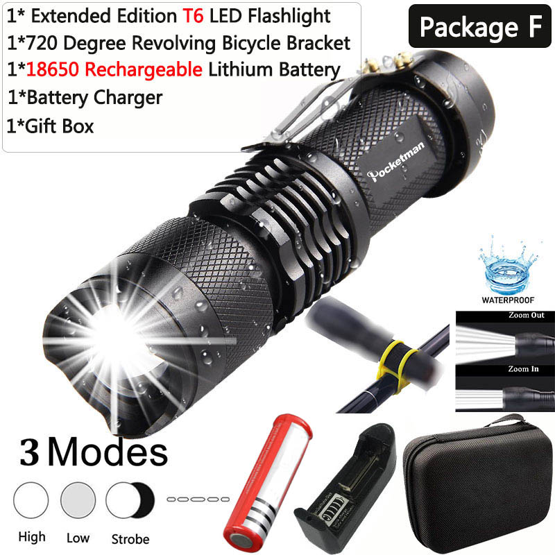 Mini 8000LM XM-L2 LED Flashlight Portable Torch Rechargeable Zoomable Light Lamp