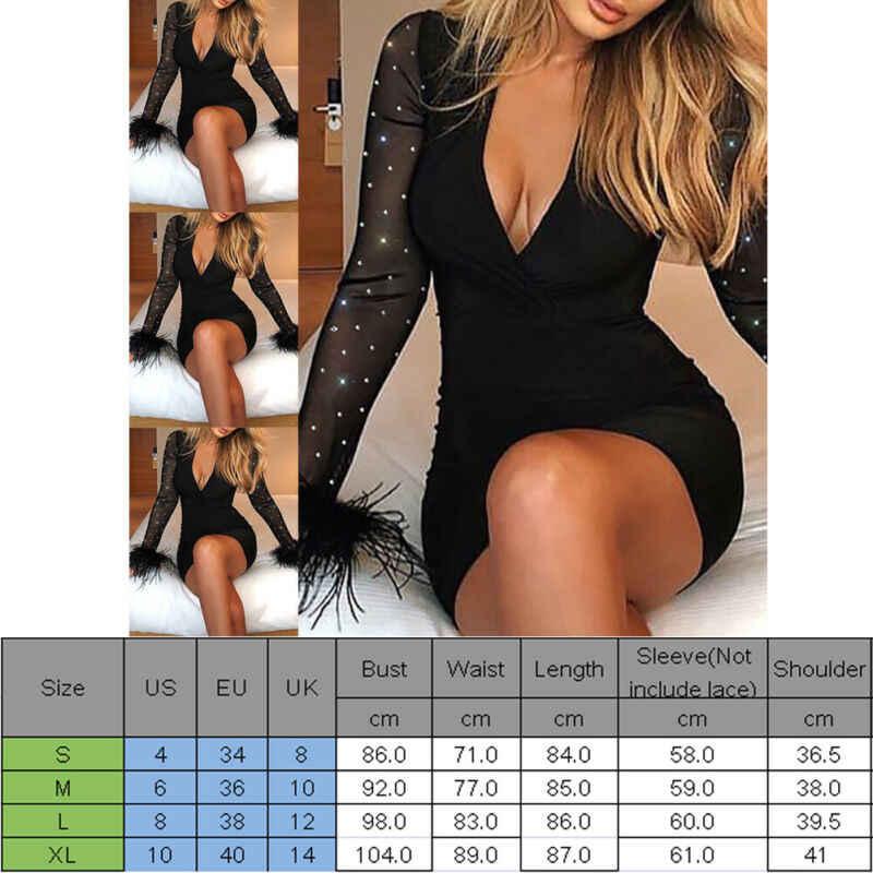 여자 숙녀 섹시한 긴 소매 라인 석 반짝이 V 목 붕대 Bodycon 플러시 커프 이브닝 파티 클럽 블랙 미니 드레스