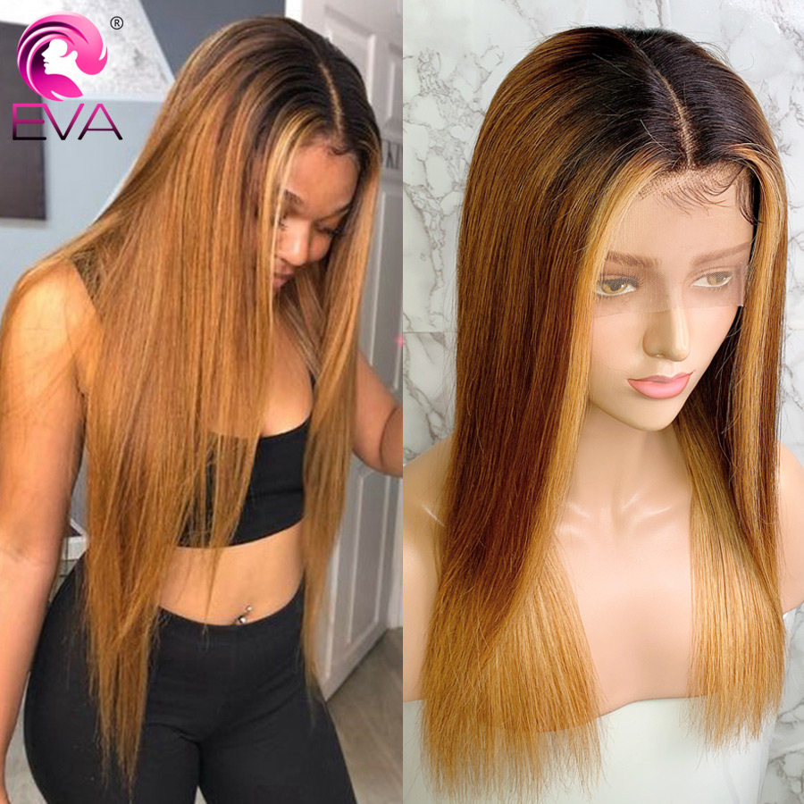 Eva Hair 13x6 Ombre Lace Front Human Hair Wigs Pre Plucked 1B/#6/27 Blonde Highlight Straight Lace Front Wig Brazilian Remy Hair