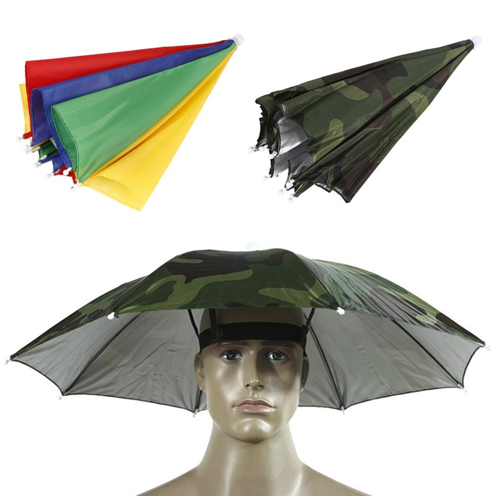 Portable Head-mounted Umbrella  55cm Sun Shade Lightweight Camping Fishing Hiking Festival Outdoor Parasol Foldable Cap Umbrella