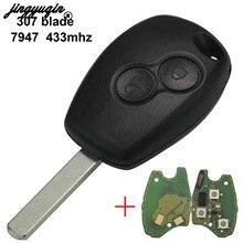 Jingyuqin 2/3 botões 433mhz pcf7947 chip remoto escudo da chave do carro para renault/kangoo ii/clio iii duster modus twingo dacia logan